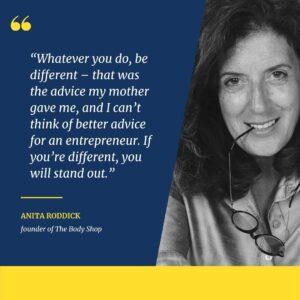 Anita Roddick, founder of The Body Shop